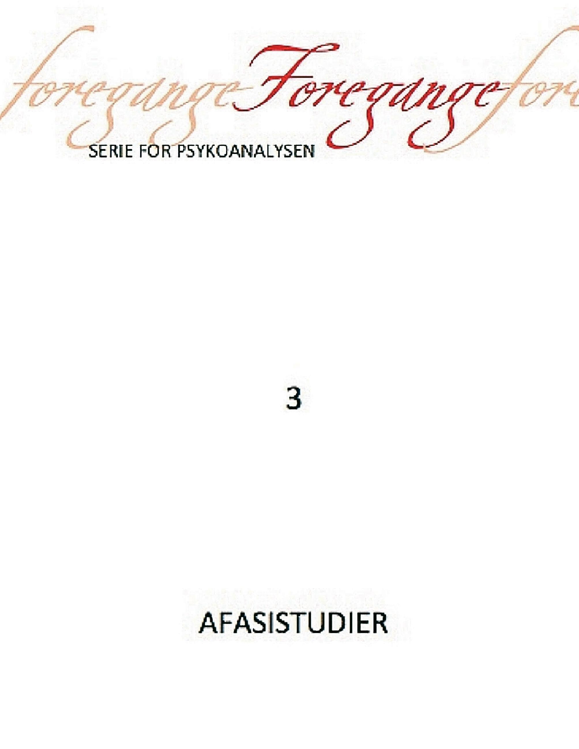 N/A – Foregange nr. 3 - afasistudier - e-bog fra bog & mystik
