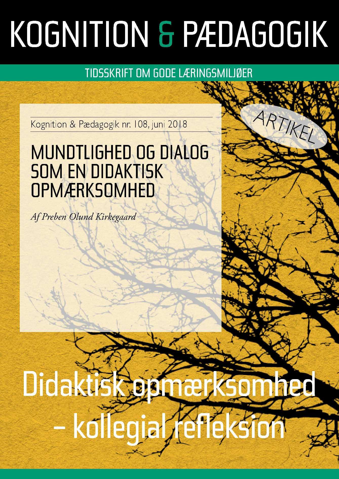 Image of   Mundtlighed og dialog som en didaktisk opmærksomhed - E-bog