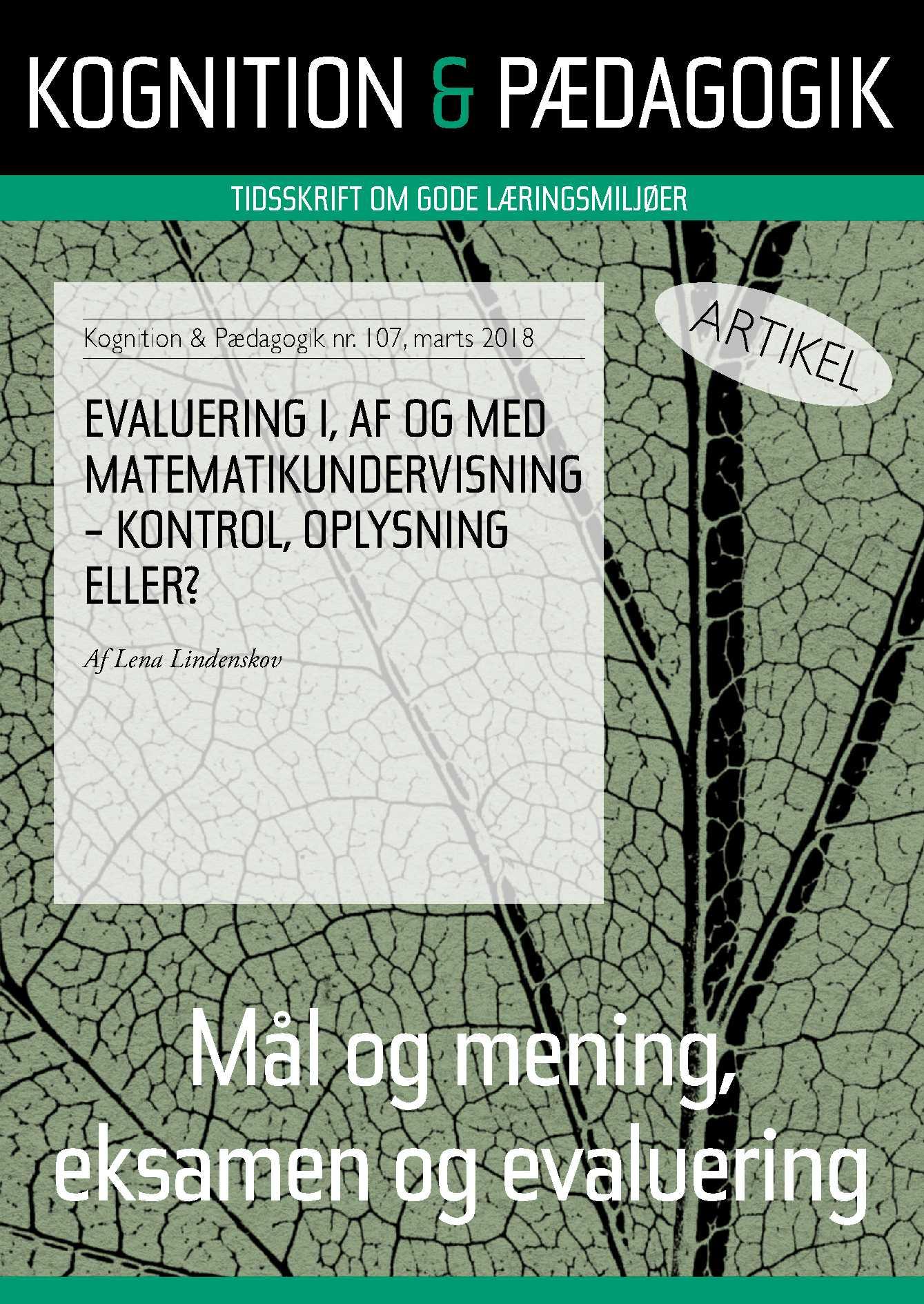 Evaluering i, af og med matematikundervisning - kontrol, oplysning eller? - E-bog