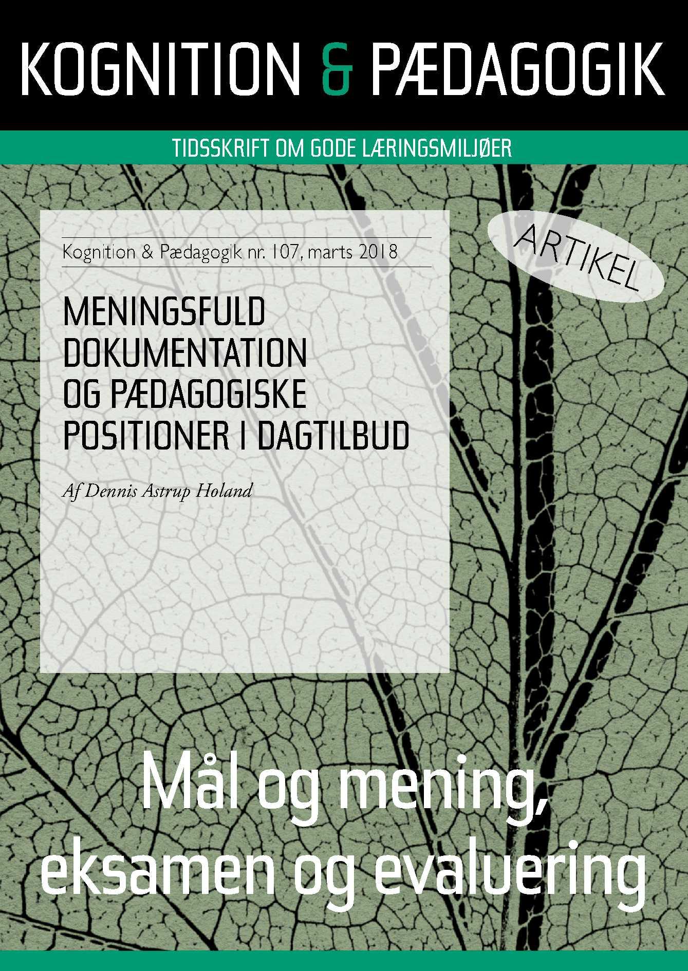 Meningsfuld dokumentation og pædagogiske positioner i dagtilbud - E-bog