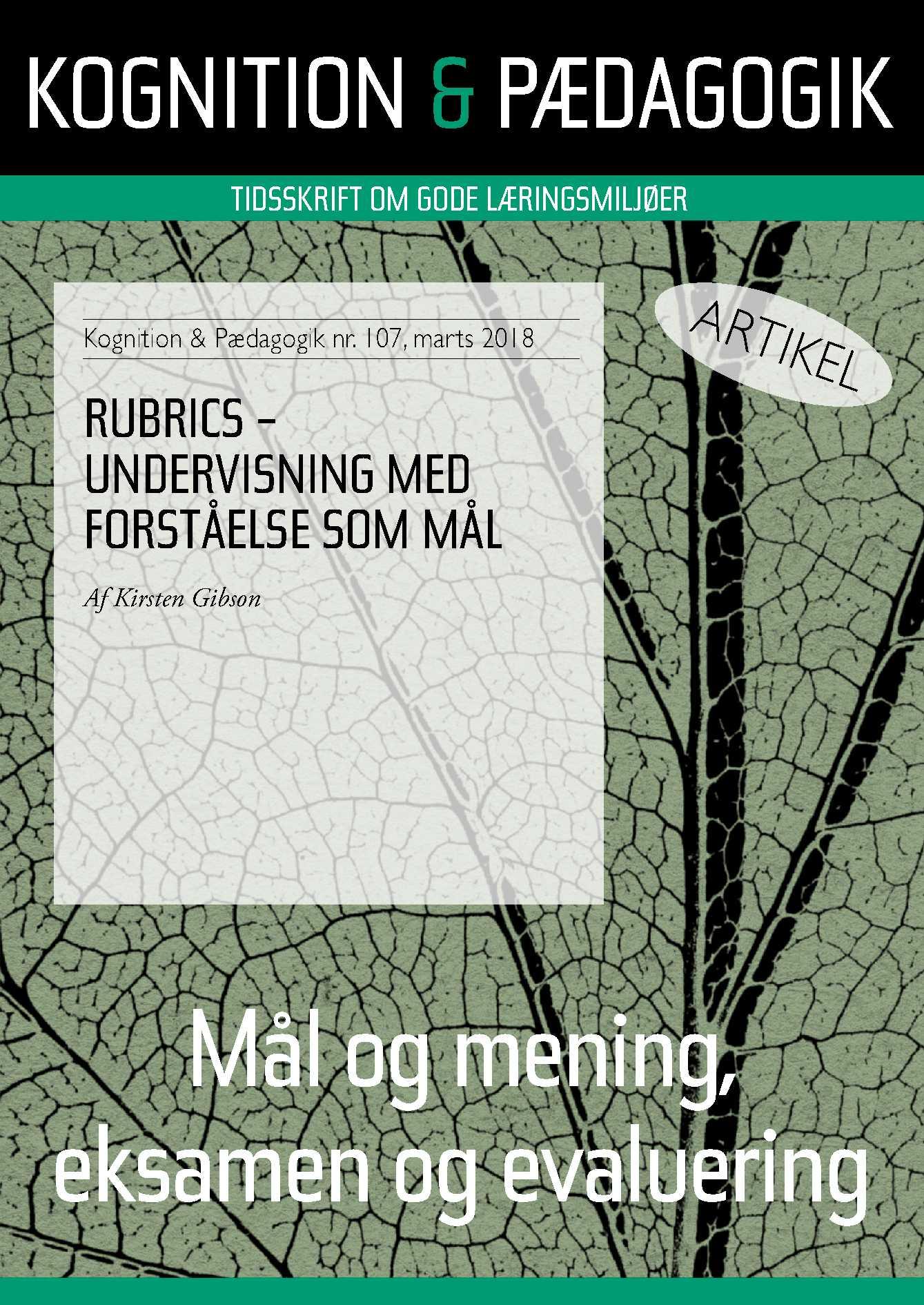 Rubrics - undervisning med forståelse som mål - E-bog