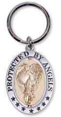 Nøglering - protected by angels - angelstar - 8cm fra N/A fra bog & mystik