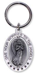 Nøglering - give your worries to the angels - angelstar - 8cm fra N/A fra bog & mystik