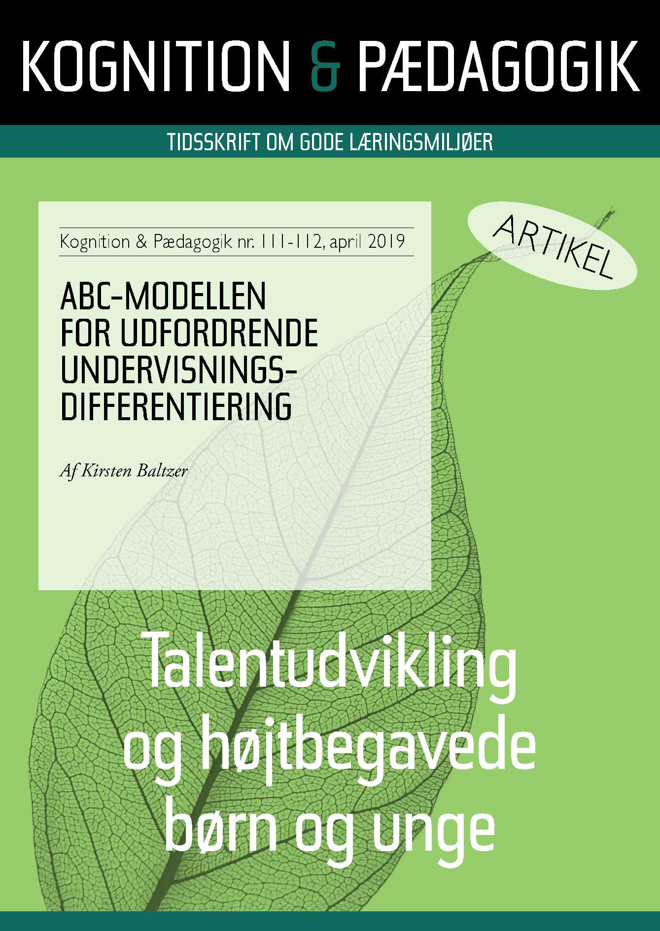 Image of   ABC-modellen for udfordrende undervisningsdifferentiering - E-bog