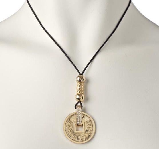 Image of   I Ching halskæde forgyldt - La Chance