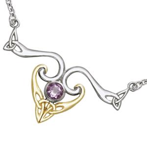N/A Halskæde med triquetra - treenighedssymbolet og ametyst på bog & mystik