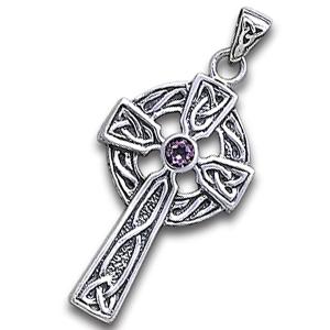 Keltisk kors med Ametyst 47mm u/kæde