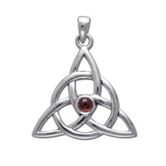 Image of   Vedhæng med Triquetra Treenighedssymbolet og Rød Granat 35mm u/kæde