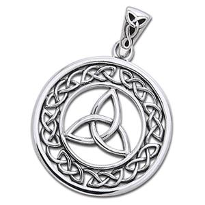 N/A – Vedhæng med triquetra - treenighedssymbolet - 33mm - u/kæde på bog & mystik