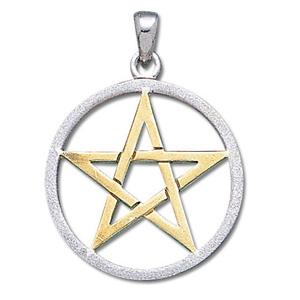 Vedhæng med pentagram - 37mm u/kæde fra N/A fra bog & mystik