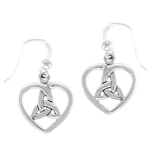 N/A – øreringe hjerte med triquetra - treenighedssymbolet - 27mm - pr sæt på bog & mystik