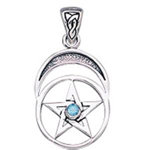 N/A Vedhæng med pentagram og blå topas - 26mm - u/kæde på bog & mystik