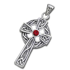 Keltisk kors med rød granat - 47mm - u/kæde fra N/A fra bog & mystik