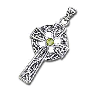 N/A Keltisk kors med peridot - 47mm - u/kæde fra bog & mystik