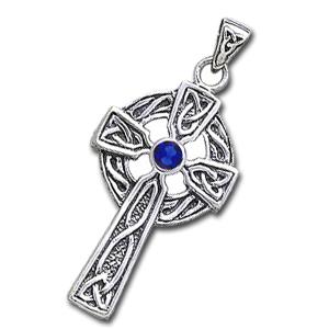 N/A Keltisk kors med safir - 47mm - u/kæde på bog & mystik