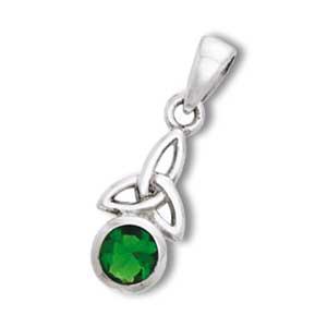 N/A Vedhæng med triquetra - treenighedssymbolet og smaragd - 24mm - u/kæde på bog & mystik