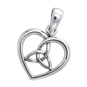 N/A Vedhæng hjerte med triquetra - treenighedssymbolet - 22mm - u/kæde på bog & mystik
