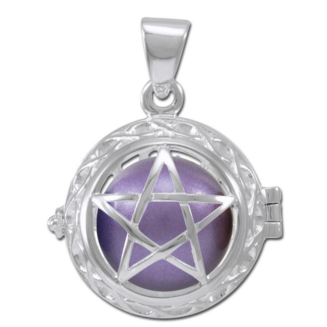 N/A Engleklokke / harmony ball med pentagram - u/kæde fra bog & mystik