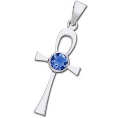 Ankh kors med Safir - u/kæde