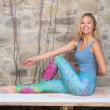 Yoga leggings - Caribien blå - Spirit of om