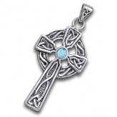 Keltisk kors med Blå Topas - 47mm - u/kæde