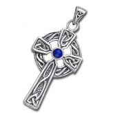 Keltisk Kors med Safir - 47mm - u/kæde