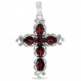 Kors med Rød Granat - 37mm - u/kæde