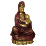 Kuan-Yin figur siddende med baby - 24cm