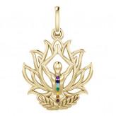 Chakra Lotus vedhæng - u/kæde - 10K guld
