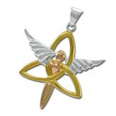 Vedhæng med Engel og Triquetra - Treenighedssymbolet - 47mm - u/kæde