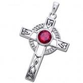 Keltisk kors med Rubin - 40mm - u/kæde