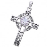 Keltisk kors med Bjergkrystal - 40mm - u/kæde