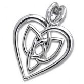 Vedhæng Hjerte med Triquetra - Treenighedssymbolet - 29mm - u/kæde