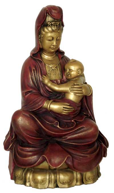 Kuan-Yin figur siddende med baby - 16cm