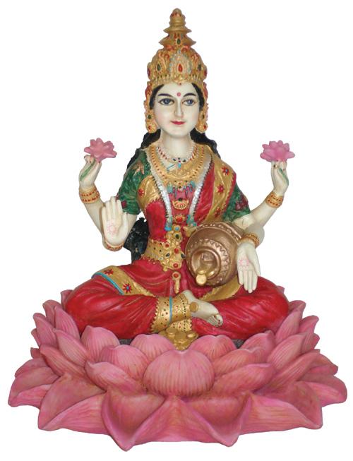 Image of   Lakshmi siddende på Lotus - 25cm