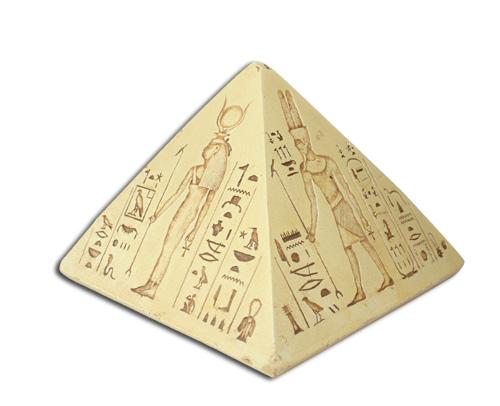 Image of   Pyramide med ægyptiske guder og hieroglyffer