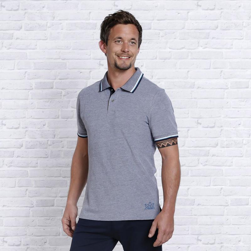 Image of   Polo Shirt - Blå - Namaste - Spirit of OM