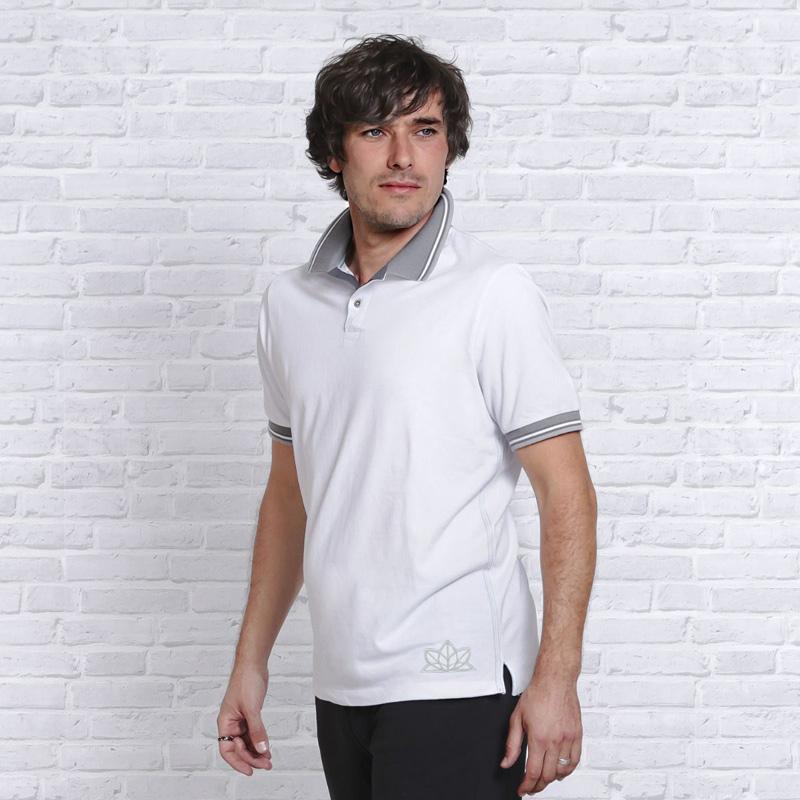 Image of   Polo Shirt - Hvid - Namaste - Spirit of OM