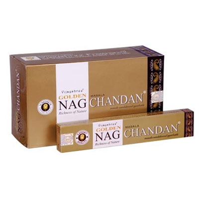Image of   Golden Nag Chandan Røgelse - 15 gram - Indisk Røgelse