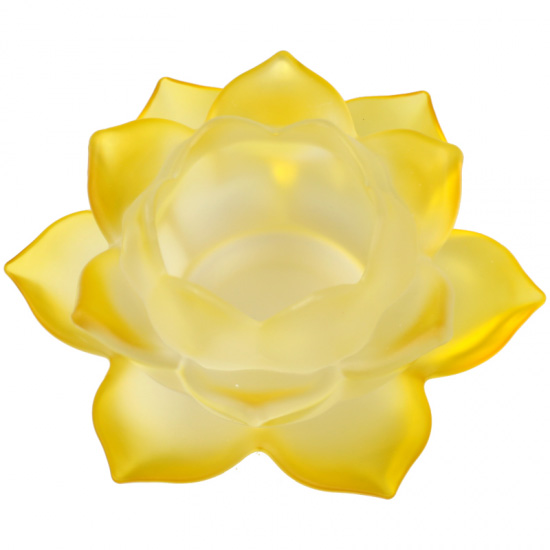 Image of   Lotus lyseholder til Fyrfadslys - Gul