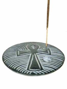 N/A Røgelsesholder med ankh kors - 10cm på bog & mystik