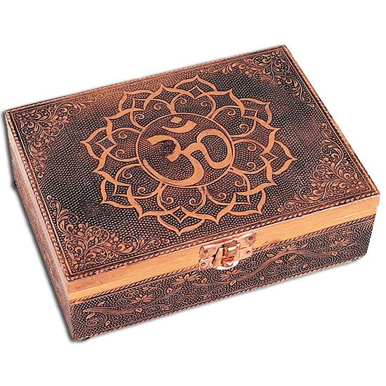 Tarotkort /englekort æske med aum - kobber look fra N/A på bog & mystik