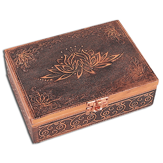 N/A Tarotkort /englekort æske med lotus blomst - kobber look fra bog & mystik