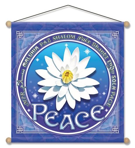 Peace banner med lotus blomst fra N/A på bog & mystik