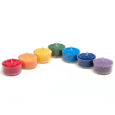 Image of   Chakra fyrfadslys - sæt med de 7 Chakra