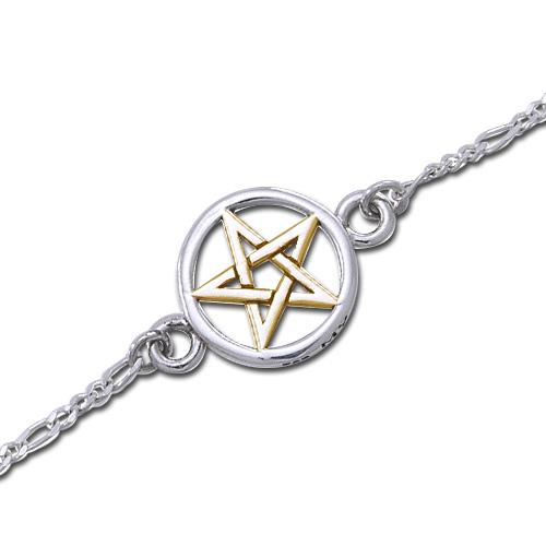 Ankelkæde med forgyldt Pentagram - 22cm