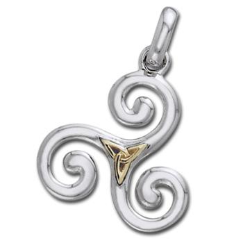 N/A Vedhæng triskele og triquetra - treenighedssymbolet - 24mm - u/kæde fra bog & mystik