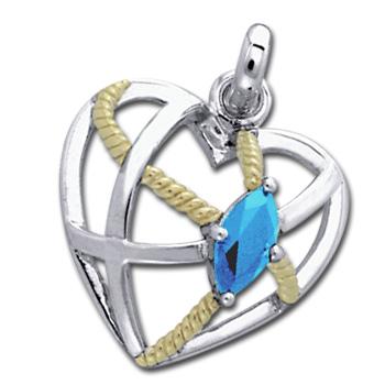 Vedhæng hjerte med blå topas - u/kæde fra N/A på bog & mystik
