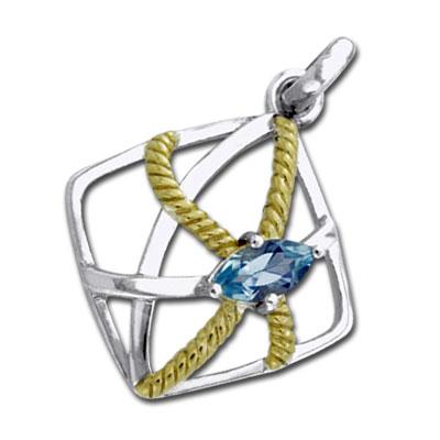 N/A Vedhæng med blå topas - 32mm - u/kæde fra bog & mystik