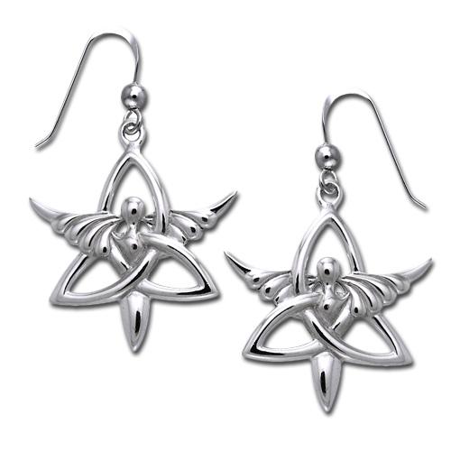 Øreringe Engel og Triquetra - Treenighedssymbolet - Pr par